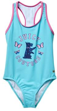 Juicy Couture Black Label Contrast Solid Bind One-Piece Swimsuit (Big Girls)