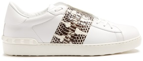 Valentino Open low-top watersnake and leather trainers