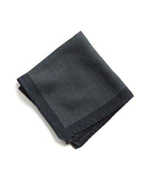 Todd Snyder Italian Wool Navy Mini Dot Pocket Square