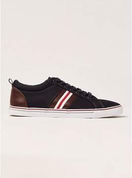 Topman Mens Navy Canvas Stripe Sneakers