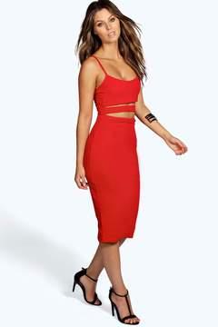 boohoo Tanya Strappy Cut Out Midi Dress