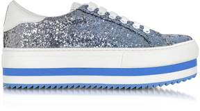 Marc Jacobs Blue Glitter Grand Flatform Lace Up Sneakers
