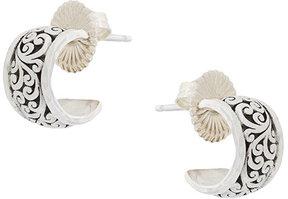 Lois Hill carved scroll hoop earrings