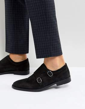 Asos Monk Shoes In Black Suede With Distressed Sole