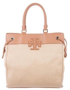 Tory Burch Leather-Trimmed Straw Shoulder Bag - NEUTRALS - STYLE