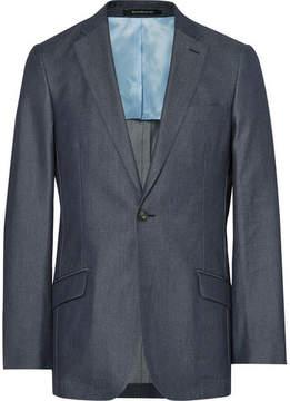 Richard James Blue Slim-Fit Denim Suit Jacket