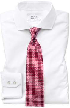 Charles Tyrwhitt Classic Fit Spread Collar Non-Iron Natural Cool White Cotton Dress Shirt Single Cuff Size 15/35