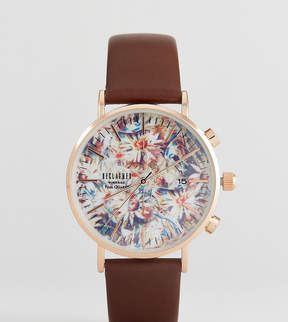 Reclaimed Vintage Inspired Sunflower Leather Watch In Brown 36mm Exclusive to ASOS