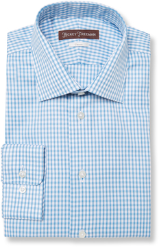 Hickey Freeman Men's Classic Fit Checkered Cotton Dress Shirt