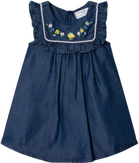 Mayoral Blue Denim Frill Front Embroidered Flowers Dress