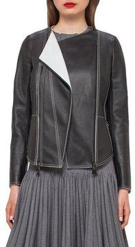 Akris Leather Biker Jacket w/Contrast Stitching, Black/Moonstone