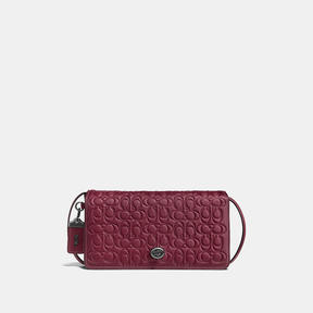 COACH Coach Dinky In Signature Glovetanned Leather - BLACK COPPER/BORDEAUX - STYLE