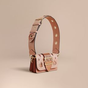 Burberry The Patchwork in Snakeskin Appliqué and Suede - PINK - STYLE