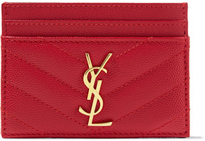 Saint Laurent Quilted Textured-leather Cardholder - RED - STYLE