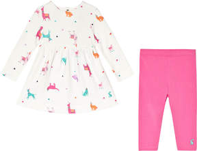 Joules Cream Llama Printed Dress and Pink Leggings Set