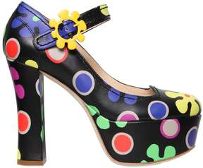 Moschino 120mm Floral Printed Leather Pumps