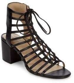 Pour La Victoire Leather Block Heel Sandals