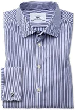 Charles Tyrwhitt Slim Fit Non-Iron Bengal Stripe Navy Blue Cotton Dress Shirt Single Cuff Size 14.5/33