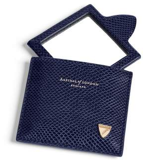 Aspinal of London Compact Mirror In Midnight Blue Lizard