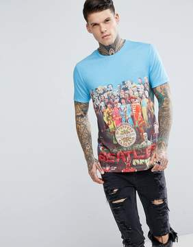 Pretty Green x The Beatles Lonely Hearts Club Crew Neck T-Shirt In Blue