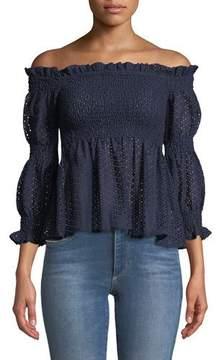 Bardot Aspen Off-the-Shoulder Smocked Crochet Lace Top