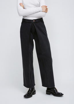 Aalto Washed Black Pleated Cropped Jean