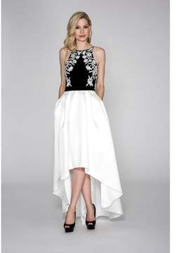 Cachet Jersey Halter With Hi/low Skirt..