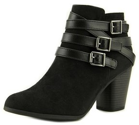 Material Girl Minah Women Round Toe Canvas Black Ankle Boot.