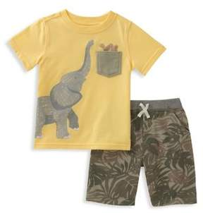 Kids Headquarters Baby Boy's Two-Piece Elephant Tee and Shorts Set