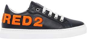 DSQUARED2 Embroidered Leather Sneakers