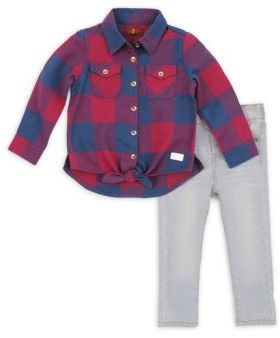 7 For All Mankind Baby Girl's & Toddler's Two-Piece Plaid Collared Shirt & Skinny Jeans Set