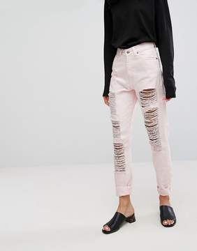 Dr. Denim Nora Mom Jean with Rips and Abrasions
