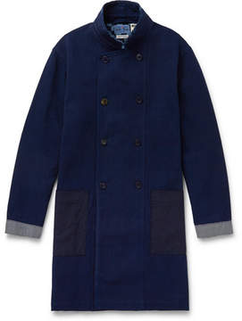 Blue Blue Japan Slim-Fit Double-Breasted Cotton-Dobby Coat
