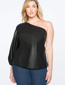 ELOQUII One Shoulder Faux Leather Top