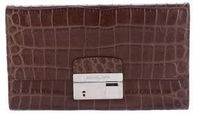 Michael Kors Embossed Gia Clutch - BROWN - STYLE
