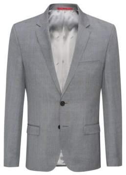 HUGO Boss Plaid Wool Sport Coat, Extra Slim Fit Arti 34R Open Grey