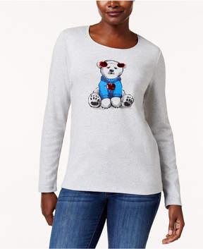 Karen Scott Petite Cotton Bear Graphic Top, Created for Macy's