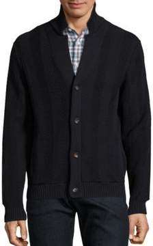 Luciano Barbera Cotton Ribbed Knit Cardigan