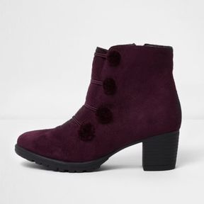 River Island Girls dark red military pom pom ankle boots