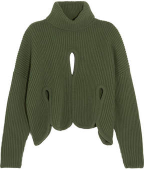 Antonio Berardi Cutout Ribbed Wool And Cashmere-blend Turtleneck Sweater - Forest green