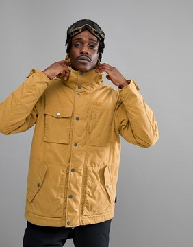 Jack Wolfskin Fort Nelson Jacket in Tan with Plaid Lined Hood