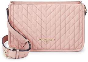Karl Lagerfeld Paris Women's Chrevron Quilted Leather Crossbody Bag