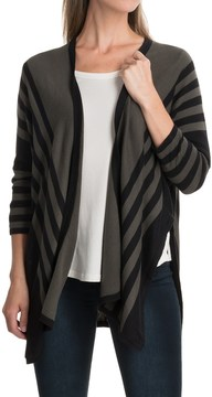 August Silk Striped Cardigan Sweater - Open Front, Elbow Sleeve (For Women)