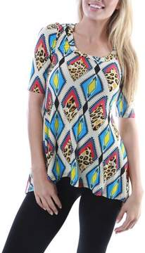 24/7 Comfort Apparel Women's Diamond Cheetah Printed Tunic