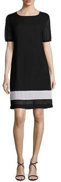 Joan Vass Rochelle Sheath Border-Stripe Dress