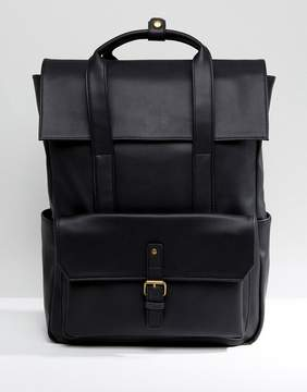 Asos Backpack In Black Faux Leather With Fold Over Top