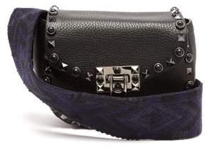 Valentino Guitar Rockstud Rolling Leather Belt Bag - Womens - Black Navy