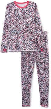 Cuddl Duds Pink Static Geometric Comfortech Top & Leggings - Girls