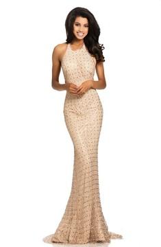 Johnathan Kayne 8070 Halter Crystal Embellished Evening Gown