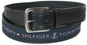 Tommy Hilfiger Men's Leather Casual Belt with Fabric Inlay, 38, Black with Navy Inlay